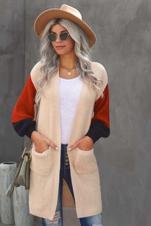Aprciot Cotton-blend Pocketed Colorblock Cardigan